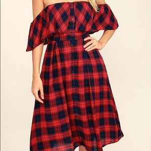 Lulu's Dresses - Lulus off the shoulder plaid dress